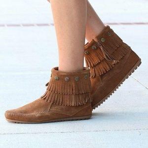Minnetonka Moccasins Double Fringe Ankle Boots